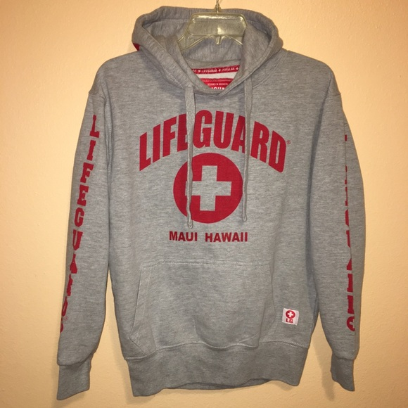 4b333b36af8550 Lifeguard Tops - Lifeguard Sz S Maui Hawaii Sweatshirt Hoodie Gray